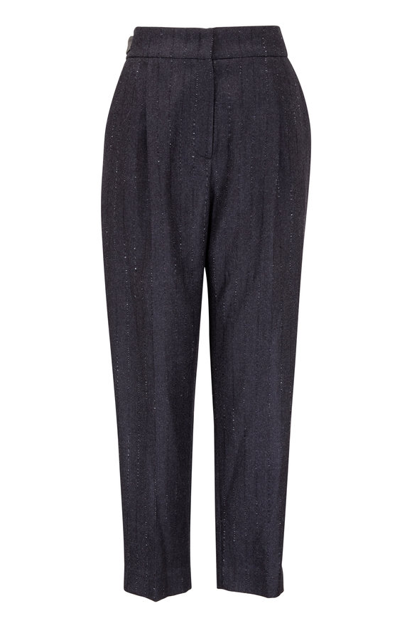 Brunello Cucinelli Onyx Pinstriped Wool Pleated Pant