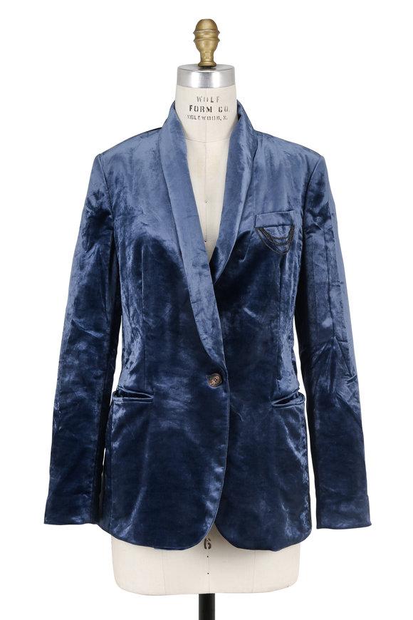 Brunello Cucinelli Blue Velvet Single Button Jacket