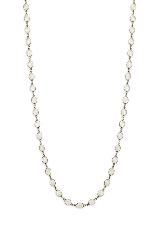 Silver White Moonstone Accessory Chain Necklace