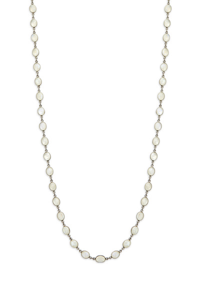Loriann - Silver White Moonstone Accessory Chain Necklace