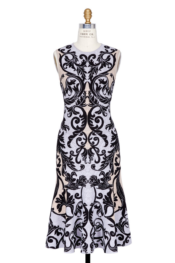 Alexander McQueen Black, Lilac & Cameo Print Fitted Dress