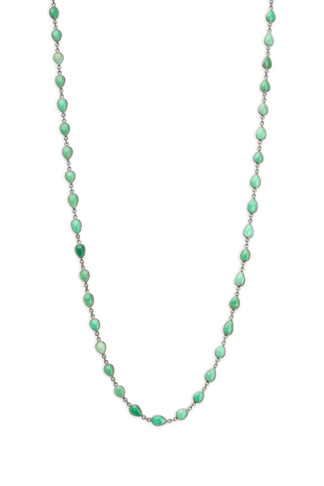Silver Green Tear Shape Accessory Chain Necklace