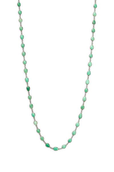 Loriann - Silver Green Tear Shape Accessory Chain Necklace