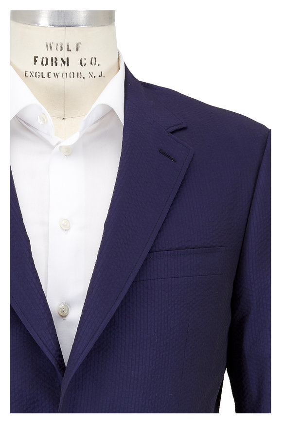 Canali Navy Blue Textured Cotton Sportcoat