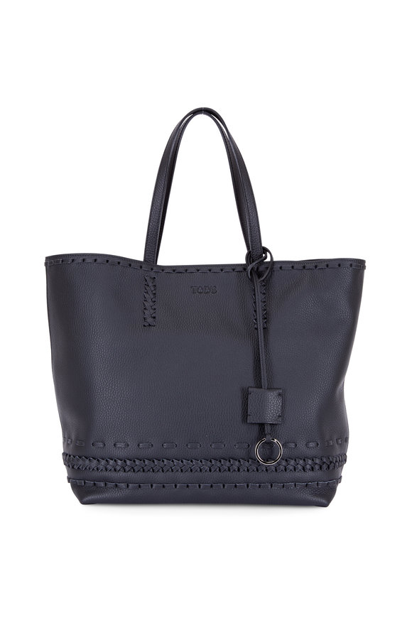 Tod's Gypsy Black Leather Whipstitch Large Tote