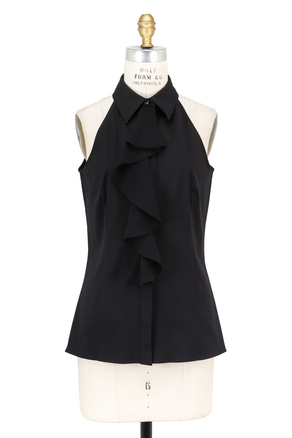 Michael Kors Collection Black Ruffled Halter Blouse