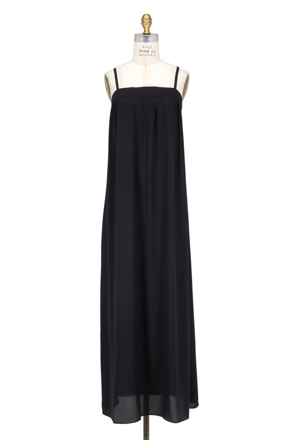 Vince Black Silk Embroidered Maxi Dress