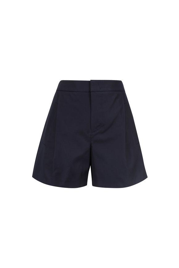 Vince Coastal Blue Stretch Cotton High Waist Shorts