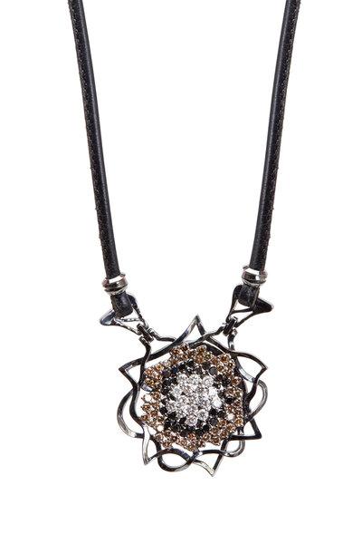 Paul Morelli - Anemone Gold Black, White & Brown Diamond Pendant