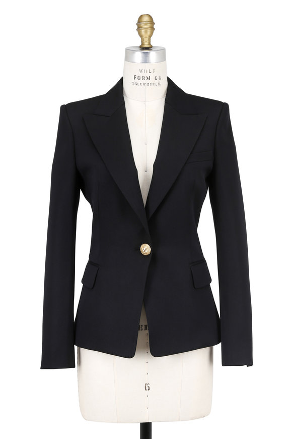 Balmain Black Wool Single Button Blazer