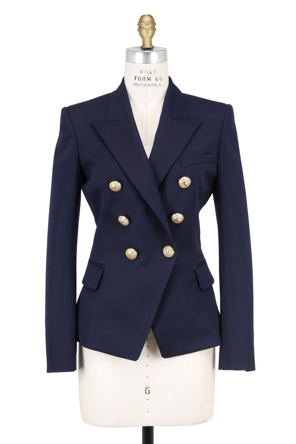 Balmain Navy Blue Wool Double-Breasted Blazer