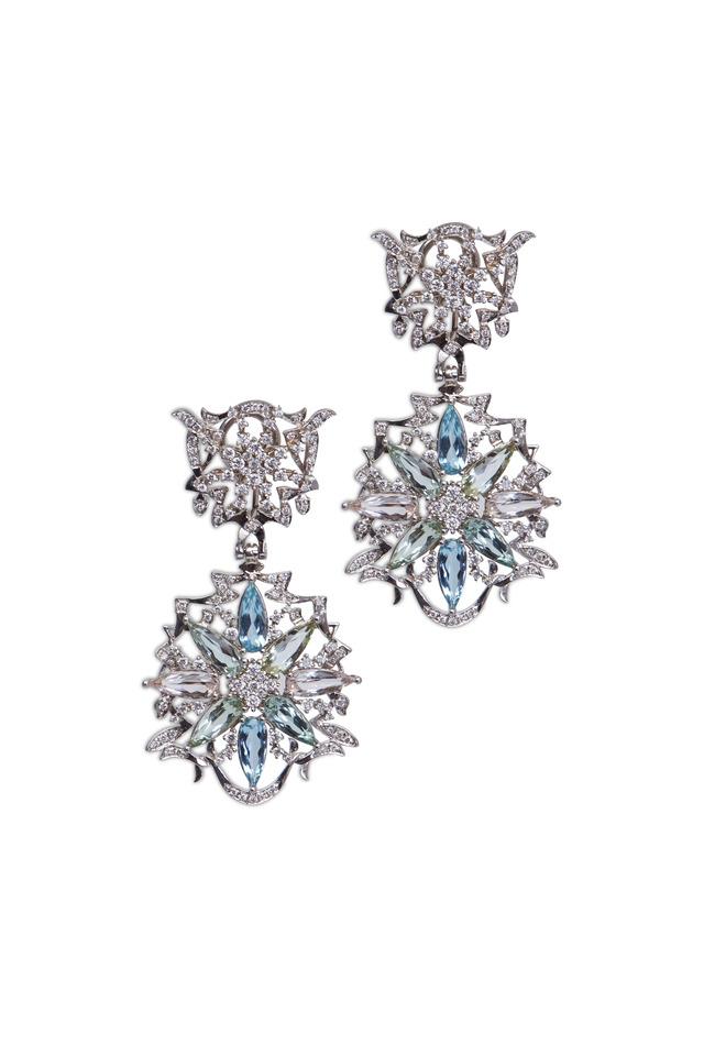Gold Pastel Gemstone Diamond Dangle Earrings