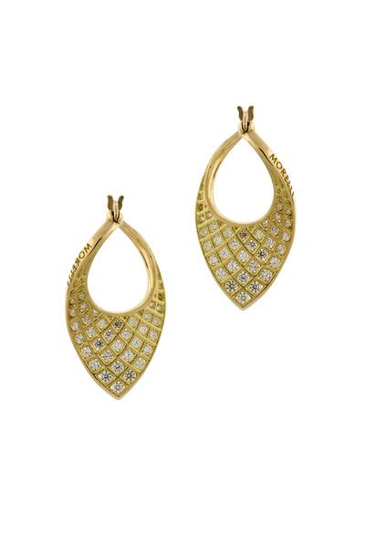 Paul Morelli - Gold Small Spiral Mesh Twist Diamond Earrings