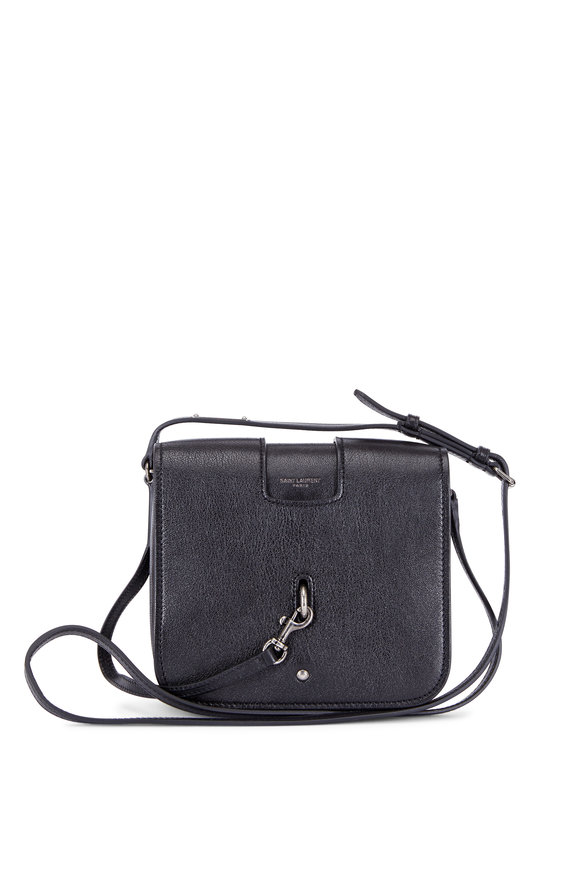 Saint Laurent Charlotte Black Grained Leather Small Crossbody
