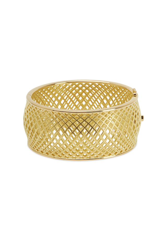 Yellow Gold Wide Spiral Mesh Cuff Bracelet
