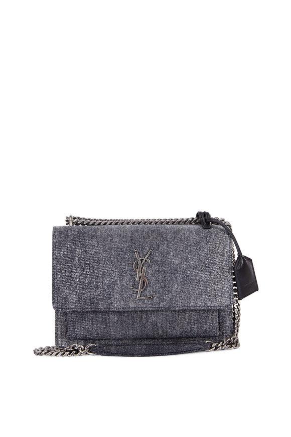 Saint Laurent Sunset Monogram Gray Denim Chain Shoulder Bag