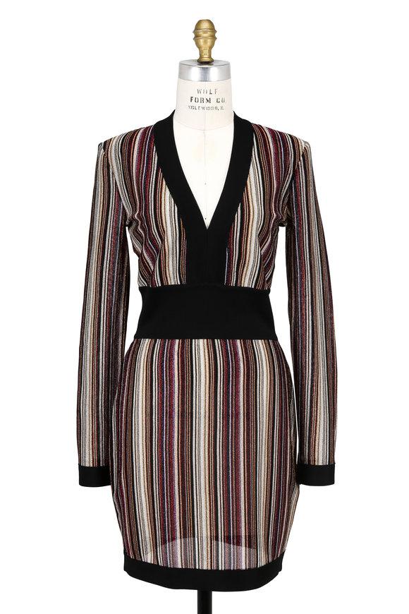 Balmain Black Multi Striped Lurex Fitted Mini Dress