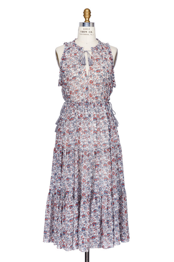 Ulla Johnson Maeve Porcelain Silk Floral Printed Midi Dress