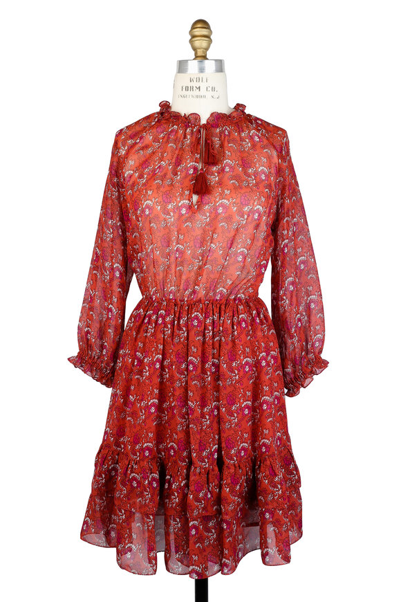 Ulla Johnson Ollie Ruby Silk Floral Printed Long Sleeve Dress