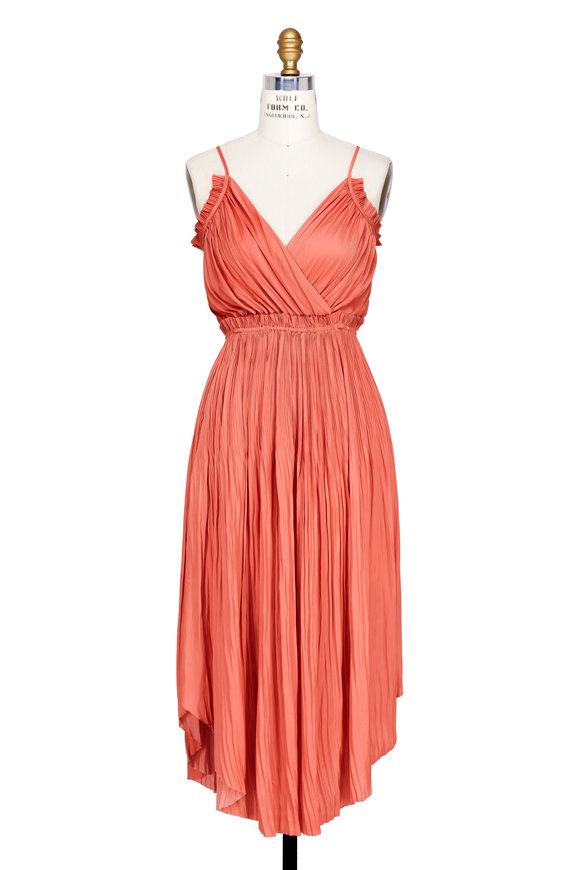Ulla Johnson Galina Dahlia Satin Midi Dress