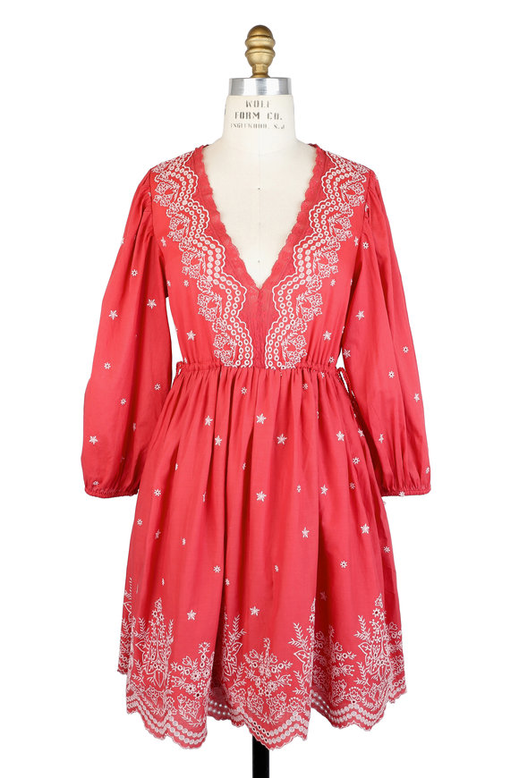 Ulla Johnson Clarice Scarlet Embroidered Dress