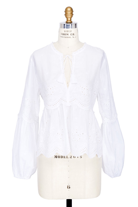 Ulla Johnson Lucie White Cotton Eyelet Blouse