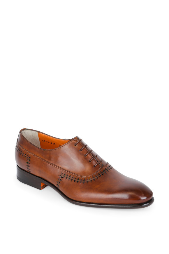 Santoni Emmanuel Light Brown Leather Perforated Oxford