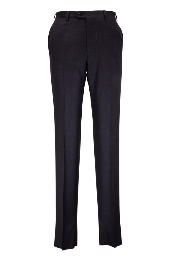 Brioni Charcoal Gray Wool Flat Front Trouser