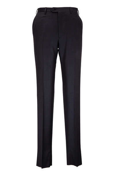 Brioni - Charcoal Gray Wool Flat Front Trouser