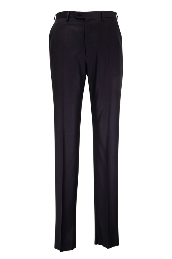 Brioni Black Wool Flat Front Trouser