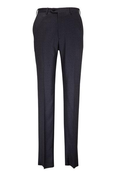 Brioni - Medium Gray Wool Flat Front Trouser