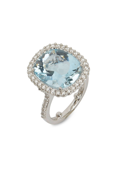 Paul Morelli - White Gold Aquamarine & Diamond Ring