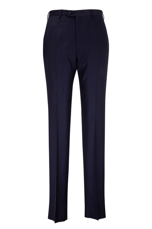 Brioni Navy Blue Wool Flat Front Trouser