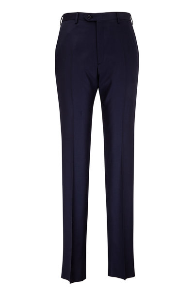 Brioni - Navy Blue Wool Flat Front Trouser