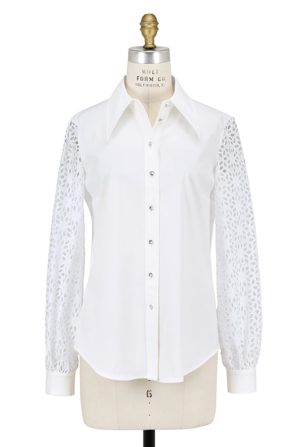 Michael Kors Collection White Eyelet Sleeve Blouse