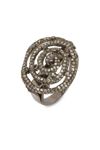 Loriann - Gold & Silver Diamond Swirl Ring
