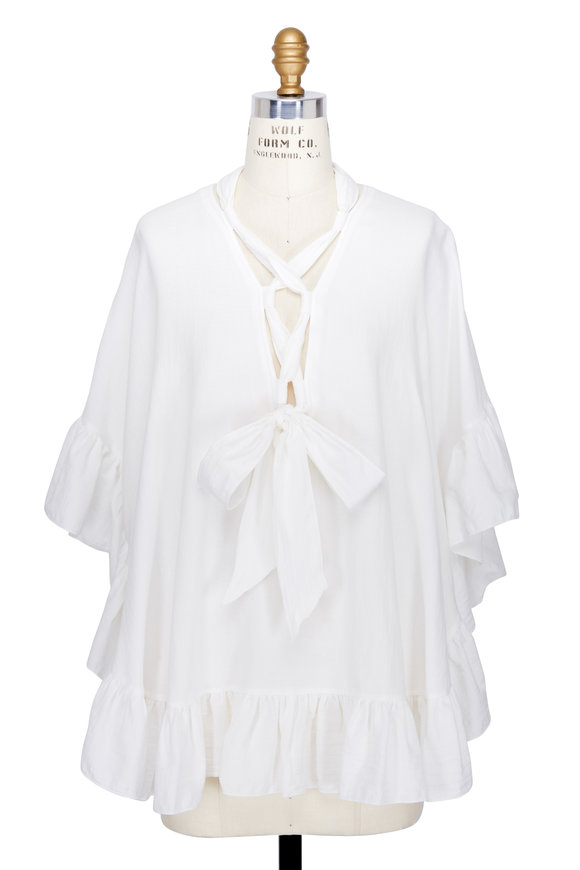 See by Chloé White Cotton & Linen Ruffle Sleeve Top