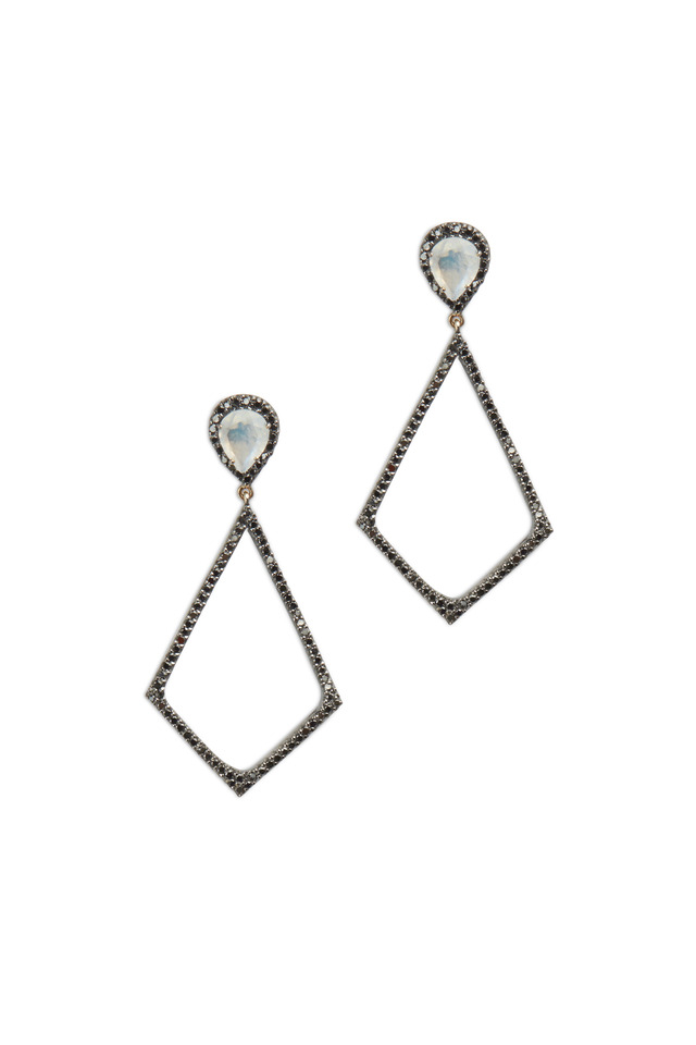 Gold & Silver Moonstone Black Diamond Earrings