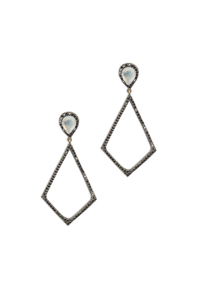 Loriann - Gold & Silver Moonstone Black Diamond Earrings