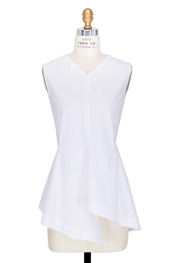 Colovos White Cotton Peplum Sleeveless Top