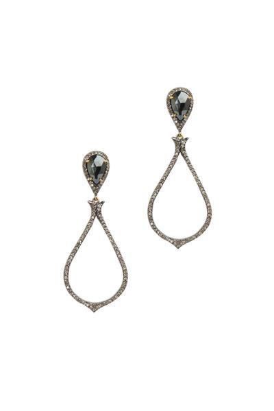 Loriann - Gold Black Spinel White Diamond Earrings