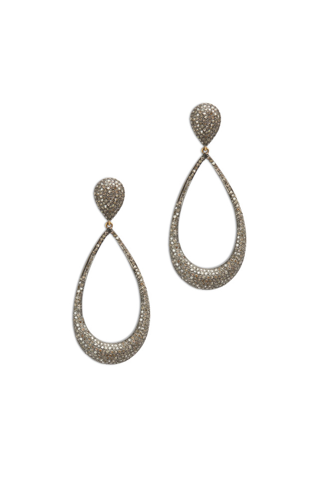 Gold & Silver White Diamond Dangle Earrings