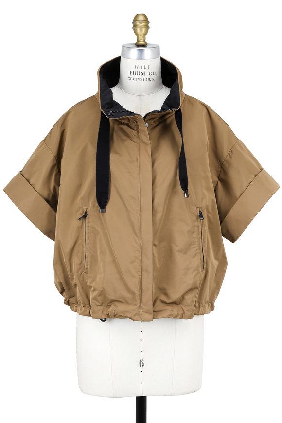 Brunello Cucinelli Khaki Taffeta Drawstring Neck Cropped Jacket