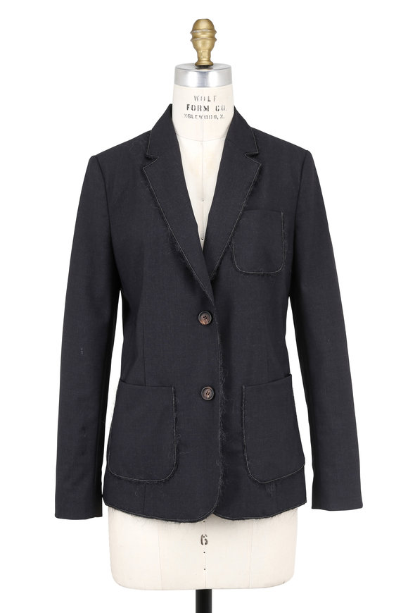 Brunello Cucinelli Anthracite Wool Mohair Trim Two Button Jacket