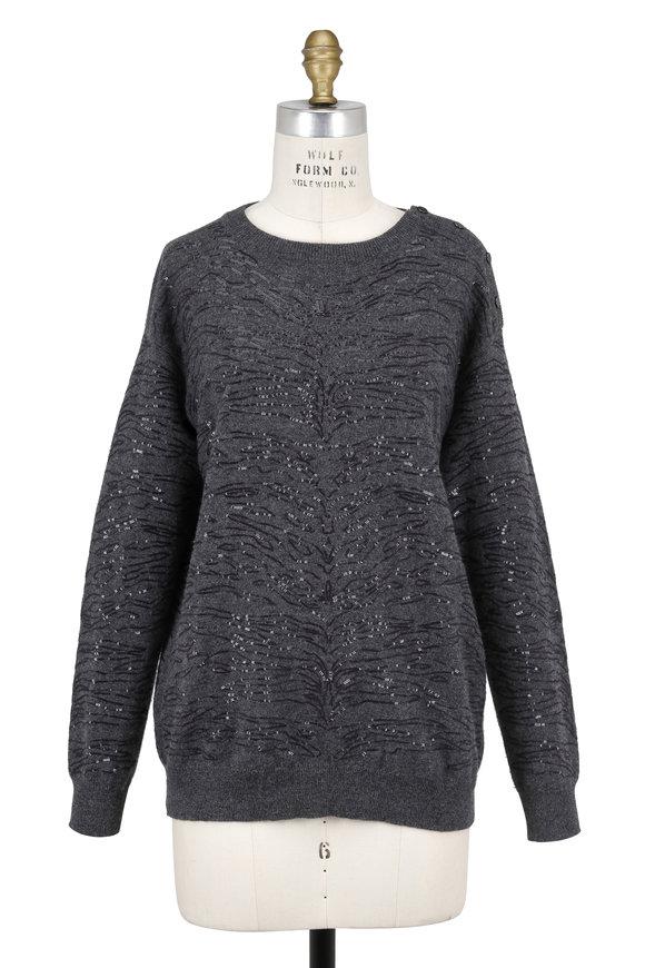 Brunello Cucinelli Charcoal Gray Cashmere Animal Pailette Sweater