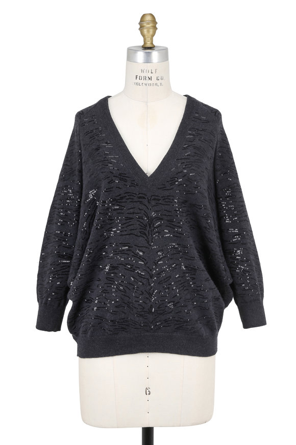 Brunello Cucinelli Onyx Cashmere Animal Pailette Embroidered Sweater