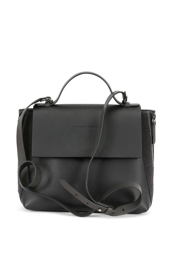 Brunello Cucinelli Black Leather Monili & Grosgrain Trim Satchel
