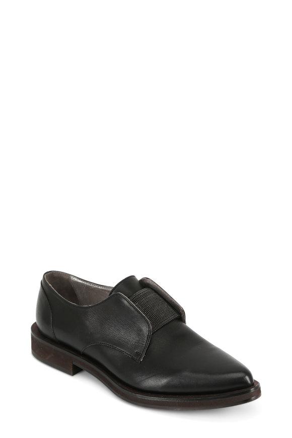 Brunello Cucinelli Black Leather Monili Tab Slip-On Oxford