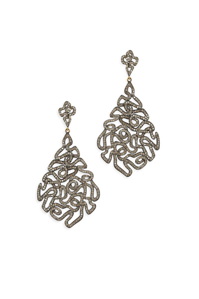 Loriann - Gold Zig Zag White Diamond Dangle Earrings