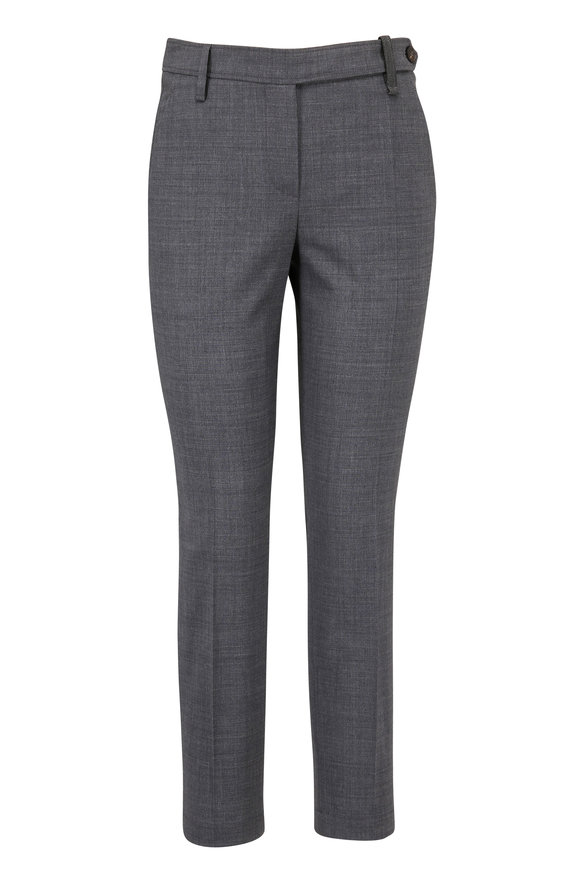 Brunello Cucinelli Charcoal Gray Lightweight Wool Ankle Pant